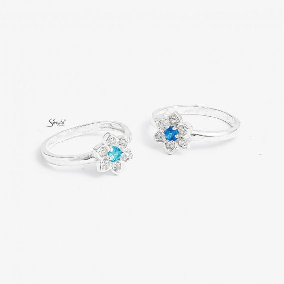 Nhẫn bạc nguyên chất Senyda 1 hột hoa 6 cánh cẩn hột cho bé NB030