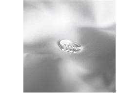NH523 Nhẫn bạc Senyda thanh chữ nhật trơn đá hở